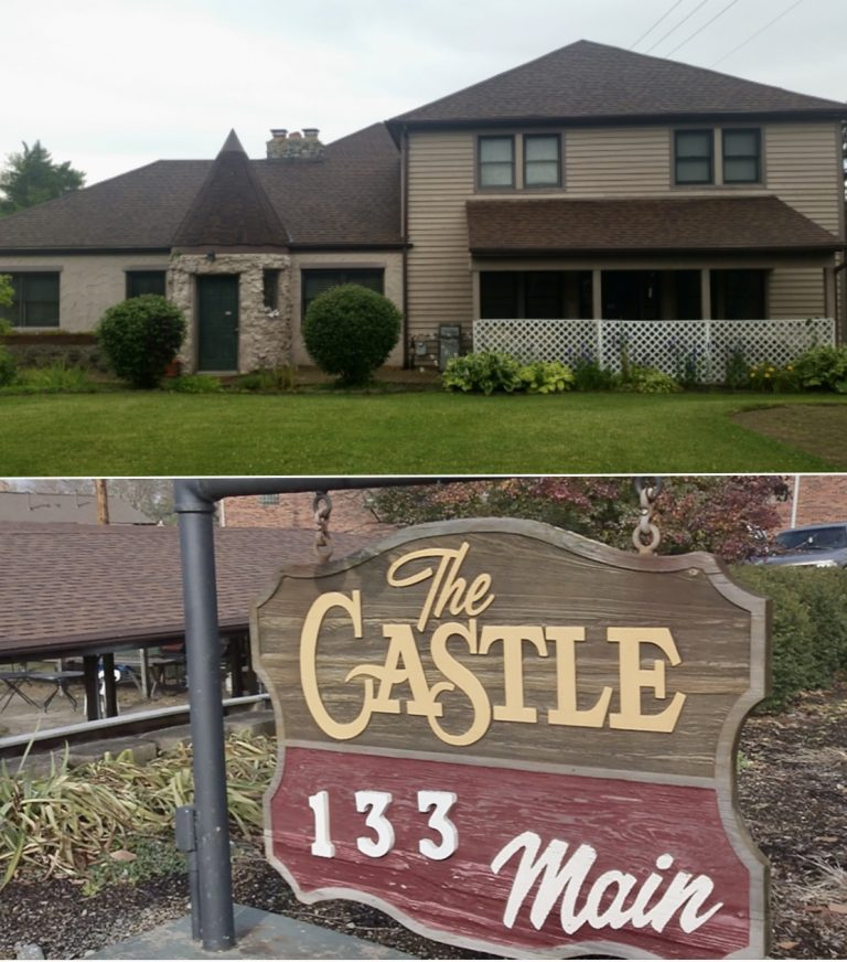Sign and photo of The Castle in Centerville, Ohio.